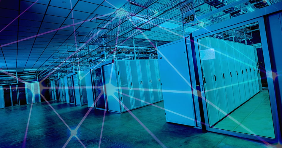 DC BLOX data center interior with network overlay